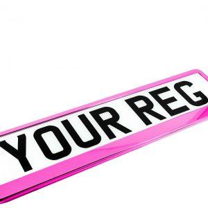 pink chrome number plate holder