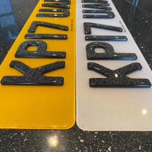 glitter gel number plates standard size
