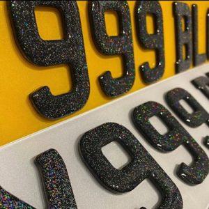 Glitter Gel Number Plates