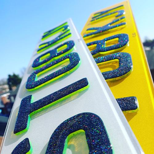 4D Glitter Gel green replacement Number Plate